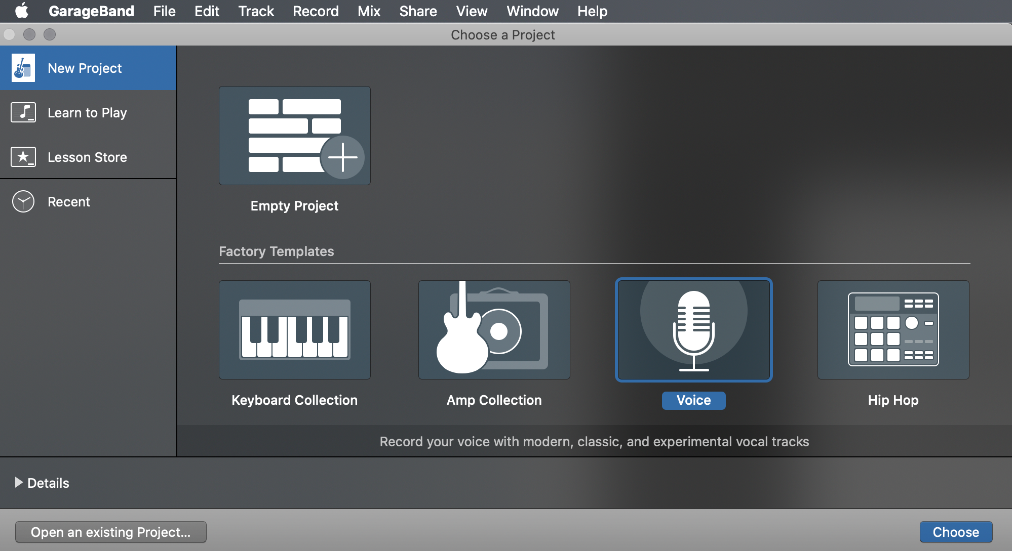 Screenshot demonstrating how to create a new project in GarageBand