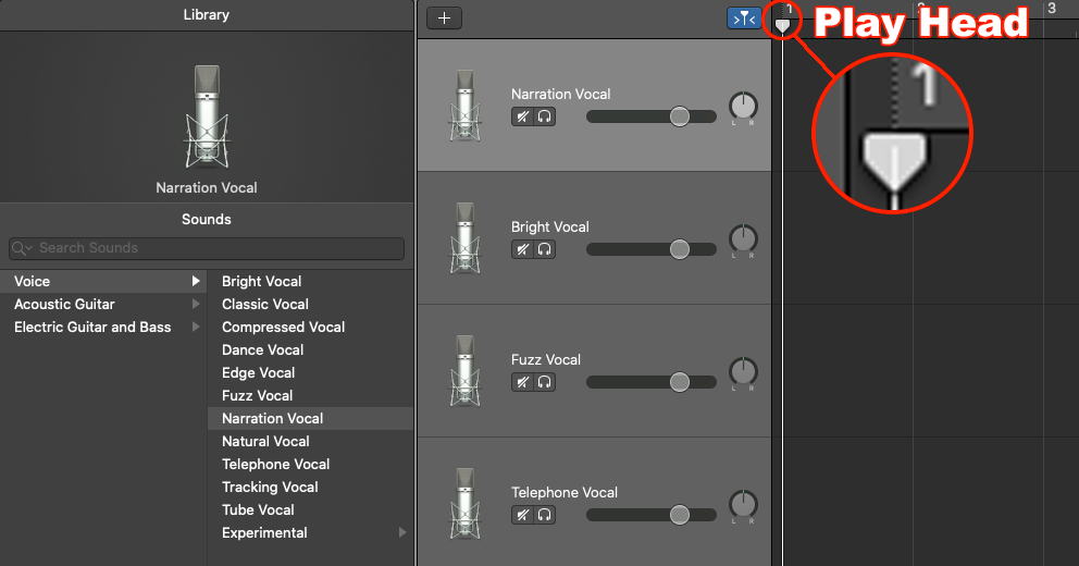 Screenshot illustrating the play head marker in GarageBand
